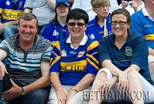 Tipperary supporters Pat and Martha Sheehan from Fethard with their daughter Ailish (right) in Semple Stadium to watch Tipp beat Wexford in the hurling qualifiers.