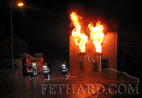 Members of Clonmel Fire Brigade attending to the fire at Watergate at Midnight, Friday 10th December.