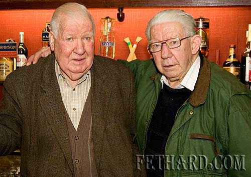 Happy Birthday Joe, says Jimmy Barry (right) to his good friend Joe Ahearn who celebrated his 90th Birthday on Sunday with friends