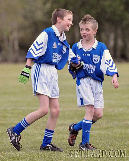 This is what it's all about - Michael Earl and Dean Kenny-Walsh enjoying the game for Fethard U-12  Juveniles