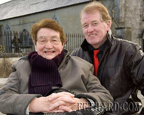 Kathleen O'Connell, Burke Street, photographed with her son Don O'Connell on a visit to the Augustinian Abbey in Fethard last week.