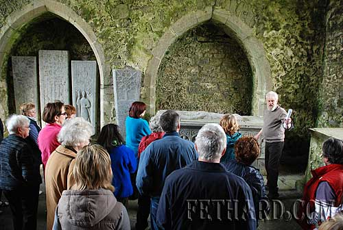 Liam Noonan, local historian, giving a talk to Historical Society members inside Kilcooley Abbey.