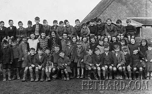 Killusty School Photograph 1940 / 41.Back Row: Jim Halpin R.I.P., Pat Lonergan, Gus Phelan, Joe Clarke, Tommy Butler, Percy O'Donnell, Jimmy Sheehan, Tommy Ryan, Paddy Ryan, Gus Keane, Jimmy O'Donnell, Jim Clarke, Ml. O'Donnell, Pat O'Shea, Jimmy O'Shea, Ml. O'Keeffe. Middle Row: Paddy O'Shea R.I.P., Christy Williams, Stephen Hickey, Mary Dunne, Bab Butler, Sadie Keane, Biddy Butler, Kathy O'Shea, Mary Sheehan, Lizzie Dunne, Nora O'Donnell, Monica  Keane, Maura O'Keeffe, Chris Donovan, Phyllis Phelan, Peggy O'Donnell, Joan Donovan, Jack Hickey, Brian O'Donnell. Front Row: John O'Shea, Jimmy Williams, Frank Kearney, Tom Lonergan, Tommy Kearney, Tom Sheehan, Dan Sheehan, Martin Hickey, Jimmy Darcy, Ned Dunne, Ned Sheehan, Nicholas O'Shea, Larry Donovan, Nora O'Shea.
