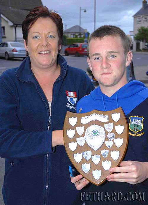 Our photograph this week is of Kyle Walsh, with his mother Kay, after receiving the under-14 county trophy for football earlier this year. Kyle loves both hurling and football and has played for club, division and county this year. He is a true inspiration to the younger players in our club for his dedication in all areas.