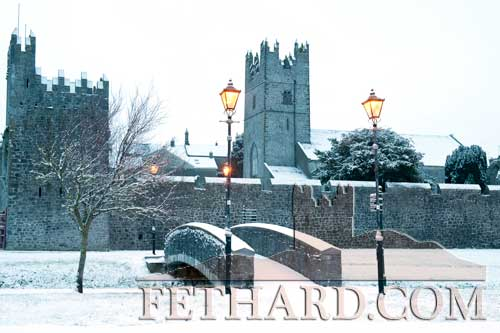 Fethard Town Wall in a blanket of snow last weekend (photo by Larry Kenny)