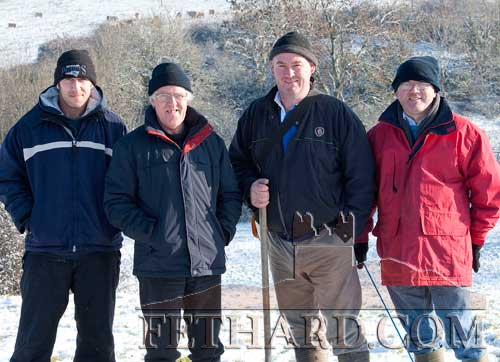 Photographed at the Ballyluskey White Harriers meet are L to R: Martin Cuddihy, Pat Byrne, Tommy Slattery and Peter Hogan.