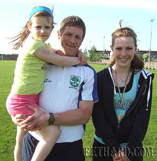 Photographed at Fethard and Killusty Community Games athletics are L to R: Aoife and Willie Morrissey, and Kate Quigley.