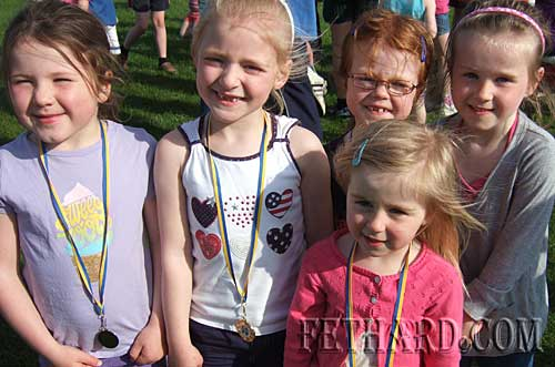 Gillian Burke, Lily O'Mahoney, Hannah Sheehy, Heather Spillane and Emily Spillane photographed at Fethard and Killusty Community Games athletics