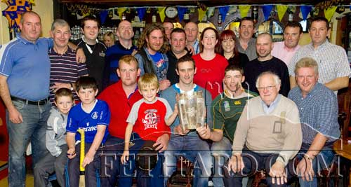 The Liam McCarthy Cup paid a visit to Butlers Bar last week accompanied by Tipperary start hurler, Declan Fanning. Photographed above are some of the enthusiastic supporters who came along to show their support.
