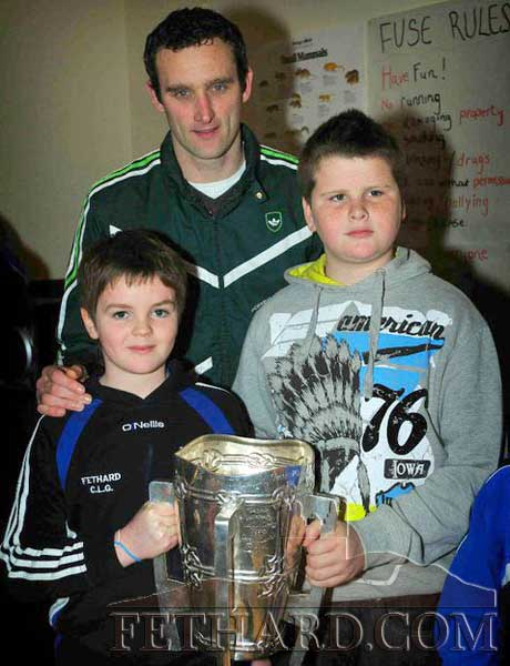 Declan Fanning photographed with Jess and Ross McCormack and the Liam McCarthy Cup at the Fethard Juvenile GAA Club's 'Medal Presentation' last weekend.