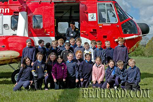 Pupils from Moyglass National School photographed in front of the Garda's Irish Coast Guard Rescue Helicopter.