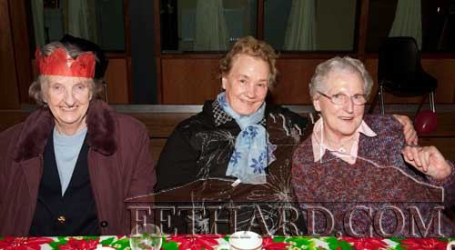 Photographed at the Moyglass Christmas Party are L to R: Sally Burke, Phyllis Ryan and Betty Cunningham