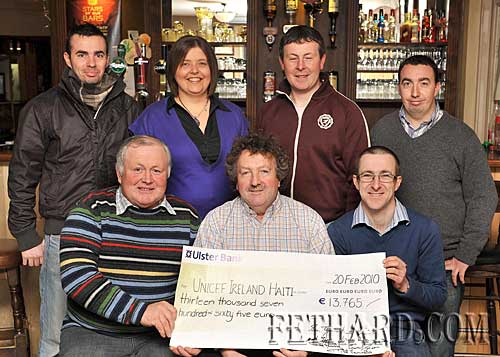The Village Inn, Moyglass, raised a terrific €13,765 for UNICEF Ireland's Relief Fund for Haiti. Photographed above are the organisers Back L to R: Sean Tynan, Louise Ryan, Kenneth Browne, Seamus Tynan. Front L to R: Pat Morrissey, Matty Tynan and P.J. Ryan.