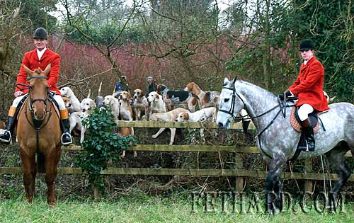 Photographed at the New Year's Day Meet of Tipperary Foxhounds in Fethard are L to R: Derry Donegan (Huntsman) and Sam Stanisland (Whipper-In)