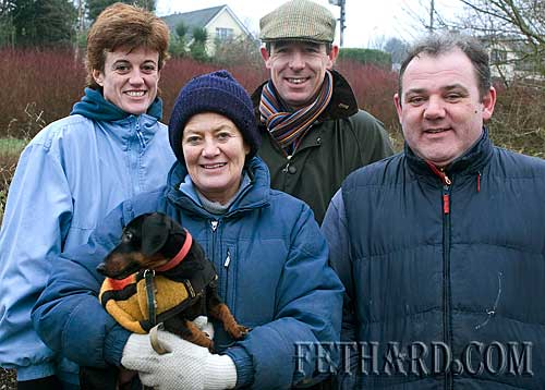 Photographed at the New Year's Day Meet of Tipperary Foxhounds in Fethard are L to R: Jacqui Freyne, Diana Stokes, Tom Freyne and Sean Brett.