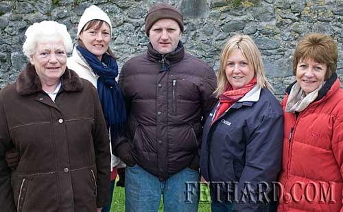 Photographed at the New Year's Day Meet of Tipperary Foxhounds in Fethard are L to R: Peg Gleeson, Ann Moloney, Johnny Cummins, Lorraine Coen and Helen Carroll.