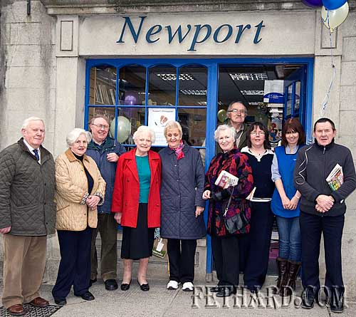 Customers at Newports celebrating their 90th Anniversary on Friday 19th March L to R: Gus Neville, Maura Neville, Johnny Carey, Peg Gleeson, Philly Kenny, Kay St. John, Tony Newport, Edwina Newport, Rebecca Bradshaw and Joe Keane.