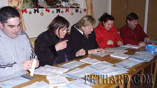 Helping with packing and posting of Fethard Newsletter to emigrants are L to R: Ian O'Connor, Margaret O'Donnell, Patricia Fitzgerald, Monica Hickey and Brud Roche