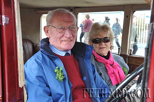 Sean Ward and Margaret Ward in their vintage car.