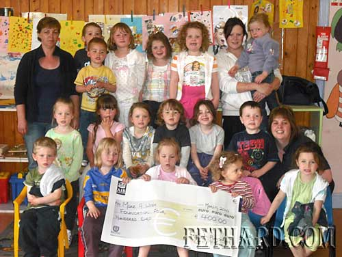 Cora McGarry, staff and children at First Steps Playschool, Tirry Centre, Fethard, photographed with a cheque of €400 for the Make a Wish Foundation collected on their recent 'Pyjama Day'.  Many thanks to the parents and children for their great work in collecting sponsorship. Cora would like to take this opportunity to thank the parents and children, past and present, for their support and kindness during the past four years. Cora is now making a career change so she wishes everyone well for the future.