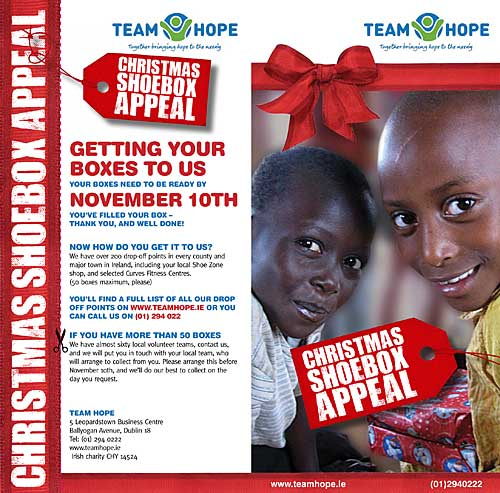 The Christmas Shoebox Appeal is an Irish project that promises to get your 'Christmas Shoebox' into the hands of a needy child In Eastern Europe, the former Soviet Union or Africa. All they ask is for you to fill a shoebox with a range of simple Christmas gifts, and drop it off at your local drop off point before November 10th, and they will do the rest!