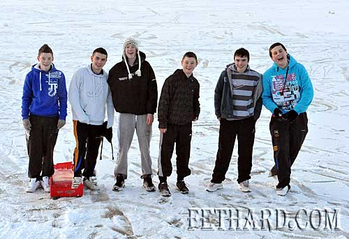 Having fun skating on the frozen pond in Fethard were L to R: Ciarán O'Meara, Dylan Fitzgerald, Damien Morrissey, Kevin Shine, Dion Butler and Cathal Hurley.