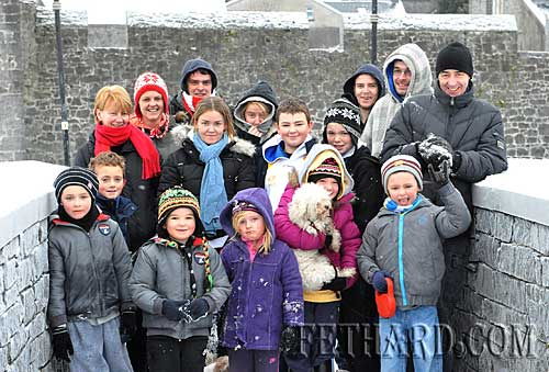 Out for a walk in the snow by Fethard Town Wall are members of the Roche extended family from Woodvale Walk.