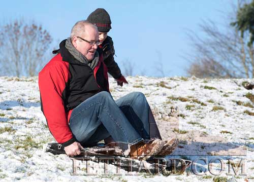 Peter O'Brien enjoying the snow in Fethard last Sunday