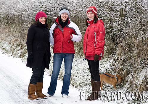 Out for a walk in the snow were L to R: Treasa Doocey, Valerie Allen and Deirdre O'Meara