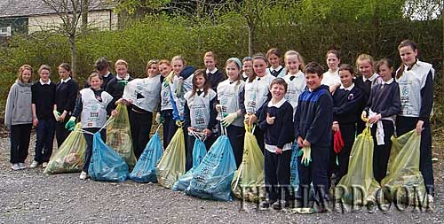 Pupils from Nano Nagle National School photographed with some of the rubbish collected in their 'Spring Clean' campaign