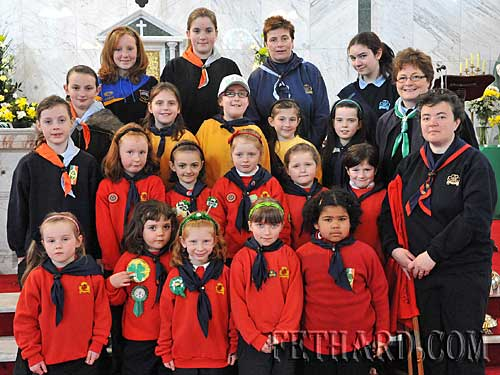 Fethard Girl Guides and leaders photographed at St. Patrick's Day Mass at Holy Trinity Parish Church, Fethard.