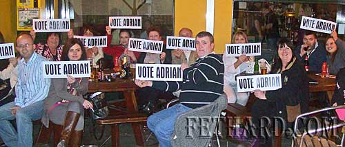 Fans of Adrian Bradshaw, Lonergan's Bar representative in the semifinal of the 'Stars in Your Bar' talent competition held in Gleeson's Clonmel last weekend. Both Adrian and the bar's other entry, 'Erin's Own', got through to the final which will be held in The Rag next week.