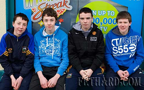 L to R: William Mordan, David Hayes, Dion Butler and Brian Healy photographed on their way to Bansha to play for Clerihan in the Under 14 Tipperary Schoolboy league