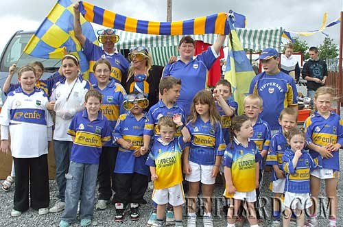 Group of young Tipperary fans photographed at Fethard Car Boot Sale on Sunday 5th September.