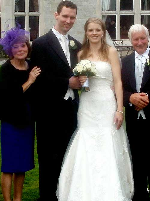 Married on Friday, October 8, were Nuala Sheehan, Clarebeg, Killusty, and Paul Rafferty, Malahide, Co. Dublin. Included in the photograph are Nuala's parents, Ann and Dan Sheehan. The wedding took place in Lough Rynn Castle, Co. Leitrim.