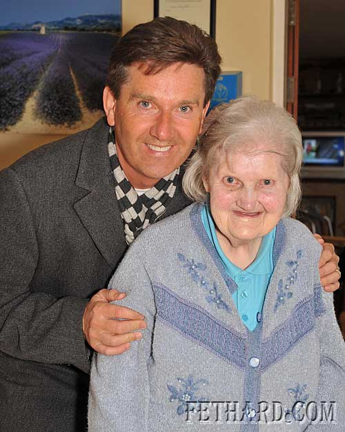 Irish singer Daniel O'Donnell photographed with Alice Byrne, Fethard.