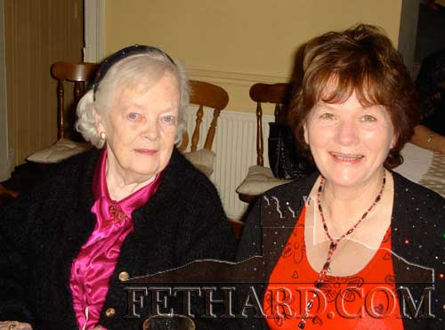 Kathleen Kenny and Marie Murphy photographed at the Abbey Choir Christmas party