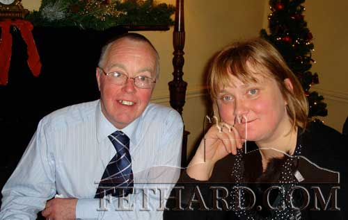 Michael Kenrick and Ann Barry (organist) photographed at the Abbey Choir Christmas party