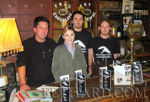 Australian Channel Nine TV presenter, Emma Freedman, photographed with McCarthy's staff L to R: Vinny Murphy, Emma Freedman, Mike McCarthy and John Hannigan.