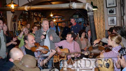 Emma Freedman, Channel Nine, with the Pheasant Plucker's in McCarthy's Bar, Fethard, Co. Tipperary.