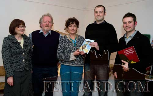 Photographed at the presentation of Fethard Historical Society's 'Tipperariana Book of the Year' award to Clonmel historian, Dermot Poyntz, and illustrator, Lee Grace, for their book, 'The Curse of Cromwell – The Siege', at the Abymill Theatre are L to R: Mary Hanrahan (Fethard Historical Society), Terry Cunningham (Chairman Fethard Historical Society), Dóirín Saurus (Fethard Historical Society), Dermot Poyntz and Lee Grace. This year's Tipperariana Book Fair takes place on Sunday 13th February from 2pm to 6pm at Fethard Ballroom.