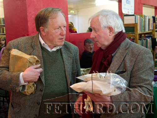 Photographed at the Tipperariana Book Fair in Fethard Ballroom are L to R: Proinsias Ó Drisceoil and Michael Coady.