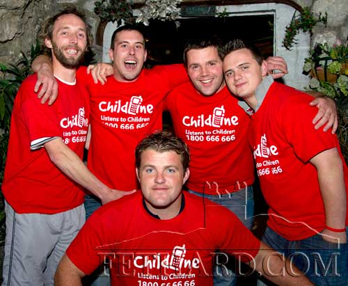 Local volunteers who offered to have their legs shaved at The Castle Inn last weekend in aid of Childline L to R: Keven White, Matt Grant, Barry Johnston, Aidi Lawrence and James Smyth in front.