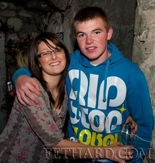 Photographed at The Castle Inn 'Leg Shave' in aid of Childline are L to R: Chloe Bysouth and Dean Burke
