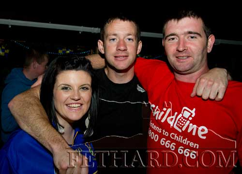 Photographed at The Castle Inn 'Leg Shave' in aid of Childline are L to R: Aoife Moroney, MIckey Purcell and Dessie Allen