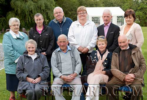 Photographed at the Clonacody Country House barbecue evening are Back L to R: Mrs Brennan, Anne Brennan, Gus Fitzgerald, Jocie Fitzgerald, Pat Culligan, Joan Culligan. Front L to R: Peggy Brett, Alfie Brett, Joan Barrett and Toby Purcell.