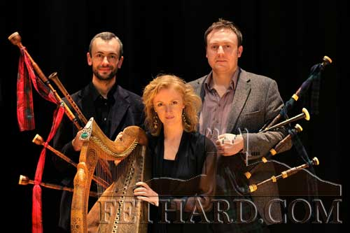 Harpist Siobhán Armstrong photographed with Griogair Labhruidh and Barnaby Brown who will perform at this year's Medieval Festival in Fethard