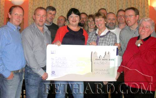 Photographed at Guinan's Bar, Ballyluskey, Drangan, where €4,367, proceeds of a clay pigeon shoot and barbecue, was handed over to CARE Cancer Care voluntary group in Clonmel.  This was a joint fund raising event held by Crohane Gun Club and the Hayden family, Drangan.  A big thanks is extended to sponsors, helpers and shooters that came from near and far to make this an enjoyable and successful event. Back L to R: Michael Gaynor, John V Ruttle, Matt Walsh, John Lawlor. Middle L to R: Joe Ryan, Eileen McEvoy (CARE), Paddy Clarke. Front L to R: Michael Bourke, John Hayden, Gillian Hayden, Imelda Fitzpatrick (CARE), Michael Nash and Mary Hayden. Missing from photo Anne Kennedy (CARE).