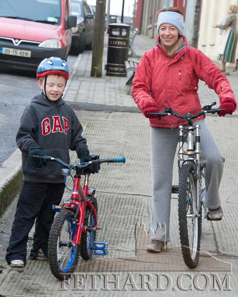 Gillian Collier and her son Toby out for a cycle in Fethard