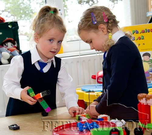 First day at school at Holy Trinity National School L to R: Lucy Brett and Keira Daniel